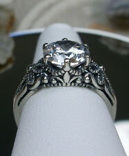 3ct White Gem Sterling Silver Victorian Crown Floral Filigree Ring Size Any/MTO