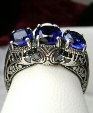 *Sapphire* Solid Sterling Silver Filigree Edwardian Cocktail Ring Size Any/MTO