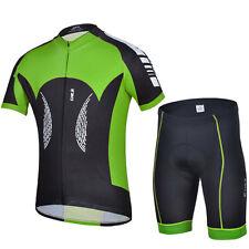 Green&Black Men Bike Bicycle Cycling Short Sleeve Jersey + Shorts Riding Suit