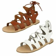 LADIES SPOT ON LACE UP FLAT GLADIATOR SANDAL IN WHITE & TAN STYLE - F0976