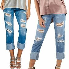 Women Ladies Boyfriend Moms Rip Destroyed Distressed Roll Up Cropped Denim Jeans