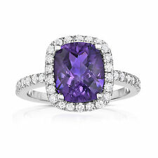 Noray Designs 14k White Gold Emerald-cut Amethyst and 1/2ct TDW Diamond Ring (G-