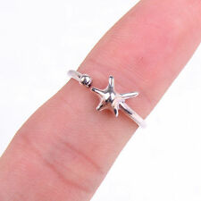 Lovely Genuine Fashion Solid 925 Sterling Silver Starfish Open Ring Jewelry H551