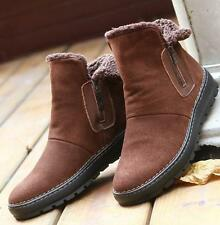 Mens winter snow fur lined zip up ankle boots suede warm casual shoes