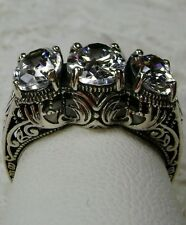3 White Gemstone Solid Sterling Silver Filigree Edwardian/Deco Ring size Any/MTO