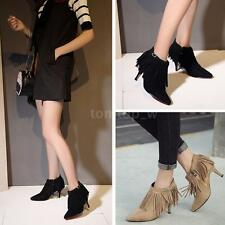 Women Ankle Boots Suede Tassels Stilettos Leather Pointed Toe Shoes Booties Q0A9