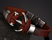 Men Handmade Leather Anchor Charm Bracelet Surfer Bangle Fashion Wristband