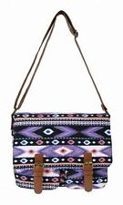 Jazzi - Printed Canvas Satchel - Black Aztec