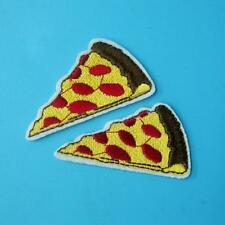 2 Pizza Cake Dessert Iron on Sew Patch Applique Badge Embroidered Food Motif Bik