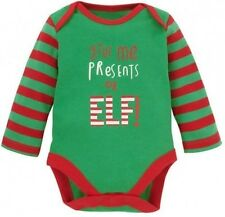 "MOTHERCARE Christmas elf Bodysuit ""give me presents or elf"" (box 7)"