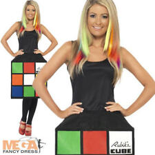 Rubiks 3D Cube 80s Fancy Dress 1980s Fun Ladies Retro Costume UK 8,10,12,14,16