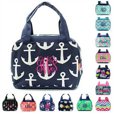 "Personalized 9"" Insulated Lunch Bag Box Lunchbox Monogram Embroidered Kids Girls"