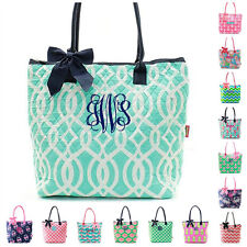 "Personalized Monogrammed 16"" Quilted Tote Bag Handbag Purse Cute Patterns"