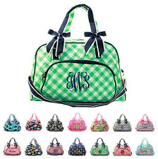 "Personalized 18"" Quilted Duffle Tote Bag & Bows Kids Girls Monogram Embroidery"
