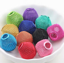 New Mixed Big Hole Colorful Metal Mesh Rondelle Ball Beads Jewelry Charms