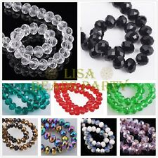 Wholesale 10/50pcs 10X7mm Faceted Rondelle Crystal Glass Loose Spacer Beads