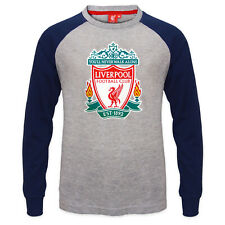 Liverpool FC Official Soccer Gift Kids Crest Long Sleeve Raglan T-Shirt