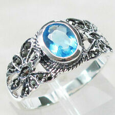 GORGEOUS MARCASITE 1 CT BLUE TOPAZ 925 STERLING SILVER RING SIZE 5-10