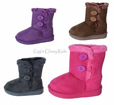 New Baby Toddler Girl Winter Faux Suede Boots Buttons Black Brown Fuchsia Purple