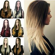 USA Clip in on 3/4 Wigs Fall Ombre Dip Dye Long Hairpiece Wavy Hair Brown Red #D