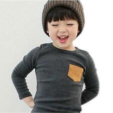 Baby Girls Boys Long Sleeves T-shirt Toddler Kids Casual Warm Tee Tops 2-7 Y
