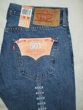 Levis 501 Original Fit Straight Button Fly Blue Denim Jeans Size 33, 34, 38 New