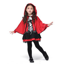 NEW Girl's Little Red Riding Hood Dress Outfit Kids Children's Halloween Costume