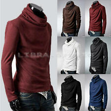 Mens Turtleneck Solid Casual Basic Elastic Long Sleeve T-shirt Stretch Sweaters
