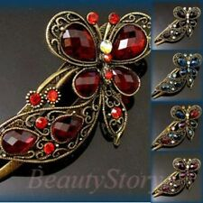 ADD'L Item FREE Shipping - Rhinestone Crystal Antiqued Butterfly Hair Clamp Clip