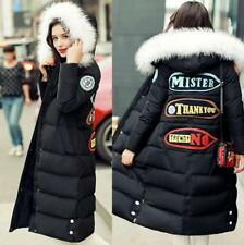 Personality Women Real Fur Collar Hooded Lang Down Coat Outerwear  Black Jacket
