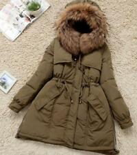 Women 100%Real Fur Hoodie Down Coat Outerwear Parka Winter Warm Jacket Size:M-XL