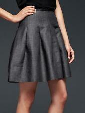 Gap NWT Navy Chambray Pleated Linen Blend Full Flared Skirt 4 6 $60