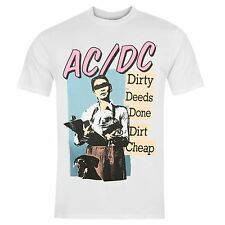 Official ACDC Dirty Deeds Done Dirt Cheap T-Shirt Mens White Tee Shirt Top
