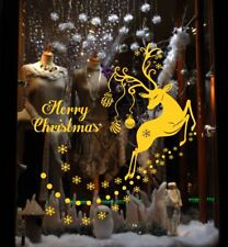 Merry Christmas Deer Snowflake Vinyl Sticker Wall Shop Window Decoration Decal