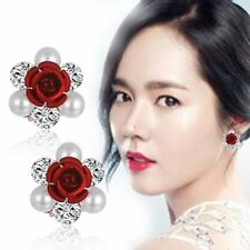 Hot Fashion Women Lady Girls Crystal Rhinestone Flower Ear Stud Earrings Gifts