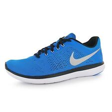 Nike Flex 2016 Run Running Shoes Mens Blue/Silver Fitness Trainers Sneakers