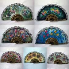 Vintage Luxury Fabric Floral Folding Hand Held Fans Summer Party Decor Fan Gifts