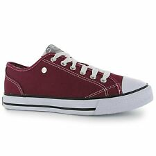 Dunlop Canvas Casual Trainers Womens Burgundy Sneakers Shoes Footwear