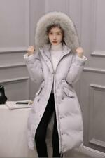 MODERN Women's Real Fur Collar Hooded Long Down Coat Outerwear Warm Jacket Parka