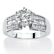 10k White Gold 2 1/2ct Round Cubic Zirconia Channel-Set Engagement Ring Classic