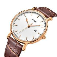 Luxury Mens Leather Strap Thin Watch Analog Quartz Date Dress Wristwatches Q9P4