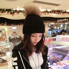 Fashion Lady Women Warm Winter Beret With Fur Ball Beanie Knitted Hat Cap
