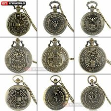 Bronze US Army Pendant Quartz Vintage Pocket Watches Chain Necklace Gift New UK