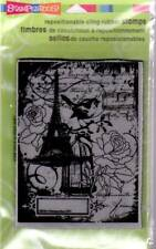 New Stampendous RUBBER STAMP cling EIFFEL TOWER COLLAGE XL FREE US SHIP