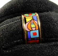 MICHAELA FREY WILLE Ring HUNDERTWASSER USsize 6.5 enamel Größe 17 mm bague MF457