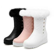 Womens winter snow fur lined mid calf boots wedge heels warm zip up shoes new