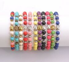 Wholesale Handwork 8MM Turquoise Buddha Head  Round Beads Stretchy Bracelets