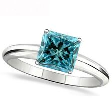 1 Carat Blue Princess Diamond Solitaire Engagement Promise Ring 14K White Gold