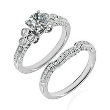 1 Carat G-H Diamond Designer Wedding Promise Solitaire Ring Band 14K White Gold