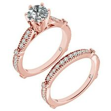 1.25 Ct G-H Diamond Infinity Vintage Solitaire Wedding Ring Band 14K Rose Gold